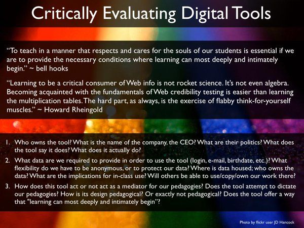 Critically evaluating digital tools activity; questions (included in text below) on a rainbow background