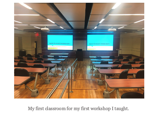 A picture of the author's first classroom.
