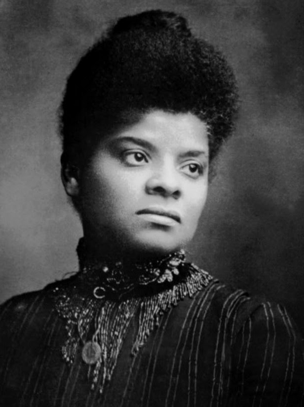 A photograph (in black and white) of Ida B. Wells.