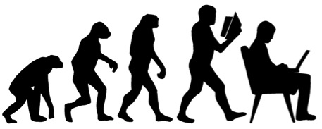 Silhouettes of apes, humans, and computer users