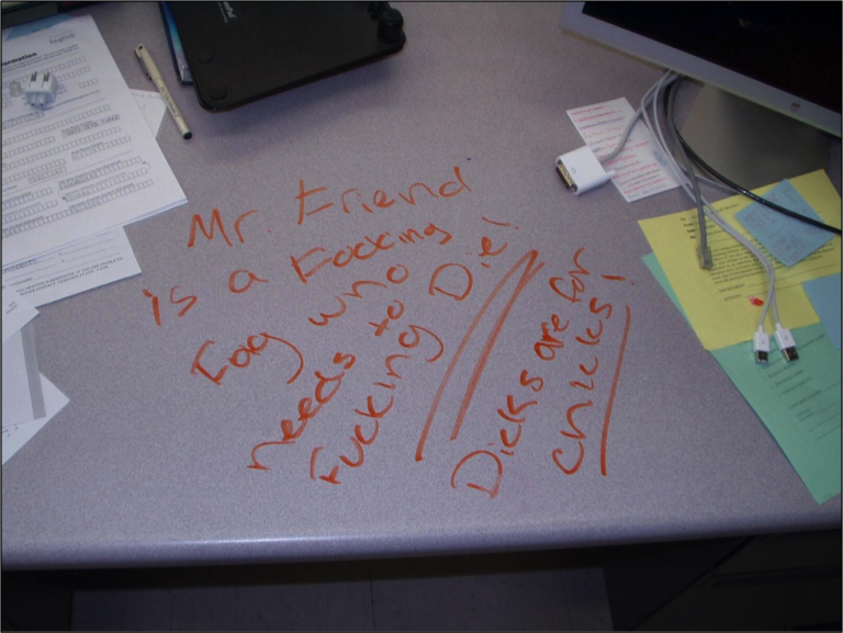 Surface of a teacher's desk with writing in orange marker: Mr. Friend is a Fucking Fag who needs to Fucking Die! Dicks are for chicks!