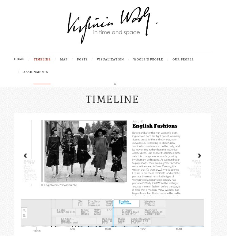 """Screenshot of blog featuring """"English Fashions"""" article and a timeline below"""