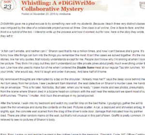 """Screenshot of opening paragraphs of """"Whistling: A #DigiWriMo Collaborative Mystery"""""""
